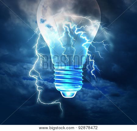 Brainstorm creative idea concept or brainstorming symbol as a lightning bolt from the sky shaped as a human head with a lightbulb image as a metaphor to conceptualize and conceive solutions with new innovative bright thinking. poster