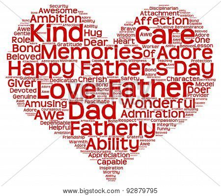 Tag cloud of father's day in the shape of red heart