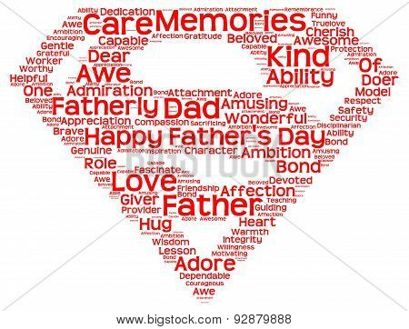 Isolated image of tag clouds in the shape of superman symbol  related to Father's day poster