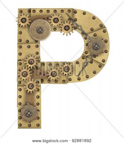 Steampunk mechanical metal alphabet letter P. Photo compilation