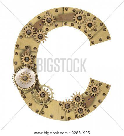 Steampunk mechanical metal alphabet letter C. Photo compilation