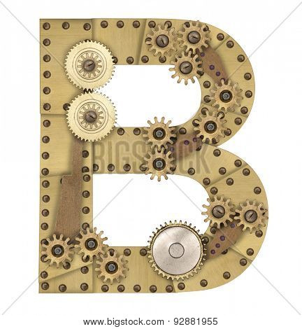 Steampunk mechanical metal alphabet letter B. Photo compilation