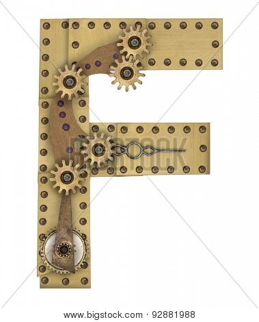 Steampunk mechanical metal alphabet letter F. Photo compilation
