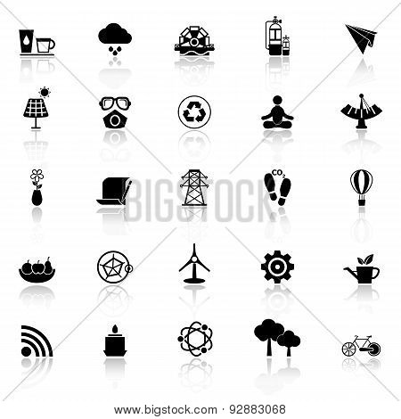 Clean Concept Icons With Reflect On White Background