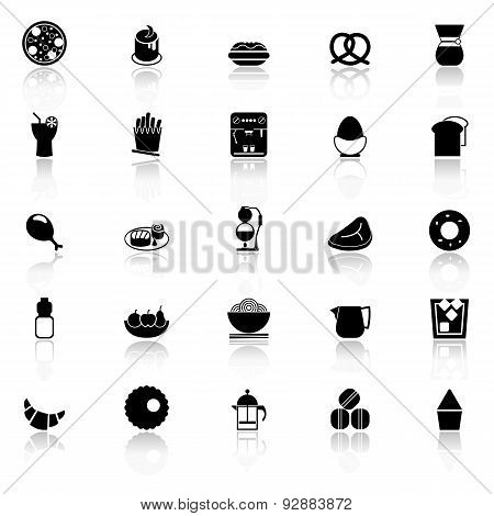 Easy Meal Icons With Reflect On White Background