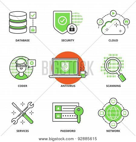 Computer Network And Security Vector Icons Set