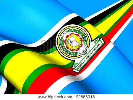 East African Community 3D Flag. Close Up. poster