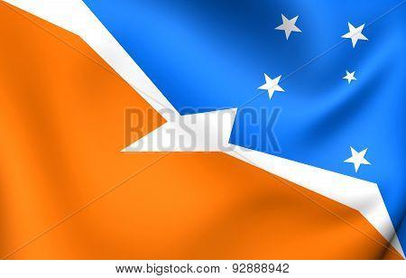 Flag Of The Tierra Del Fuego, Argentina.
