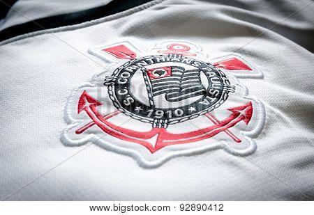 SAO PAULO, BRAZIL - CIRCA MAY 2015: Corinthians soccer logo on an official jersey.