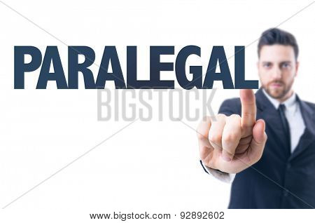 Business man pointing the text: Paralegal