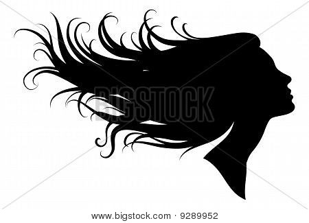 silhouette of a girl, vector illustration