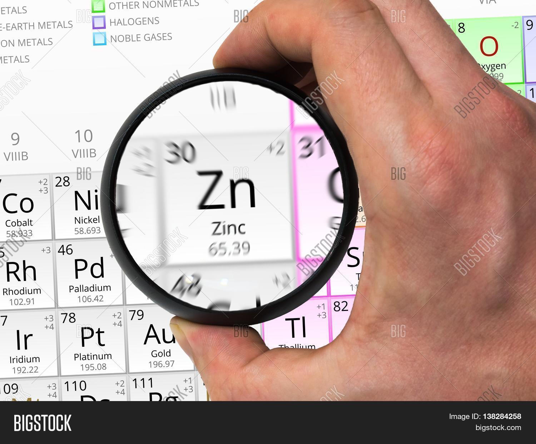 Zinc symbol zn element periodic image photo bigstock zinc symbol zn element of the periodic table zoomed with magn buycottarizona Gallery