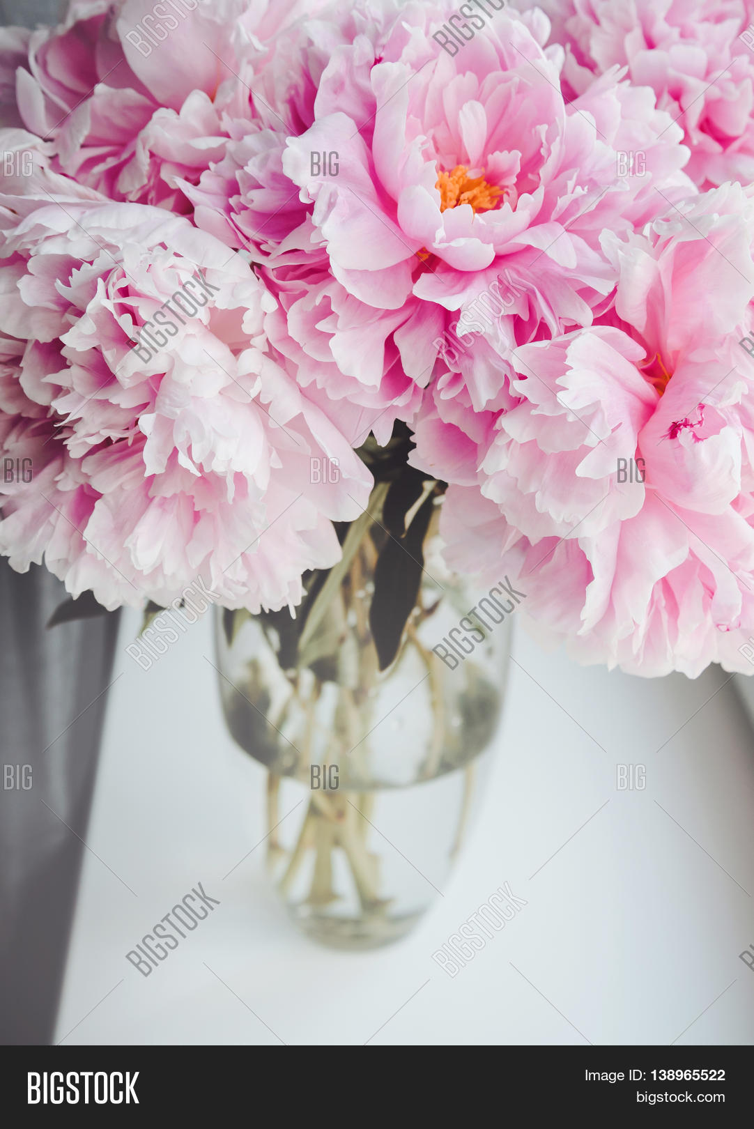 Beautiful bouquet pink peonies image photo bigstock beautiful bouquet of pink peonies peony roses flowers in vase on white window sill reviewsmspy
