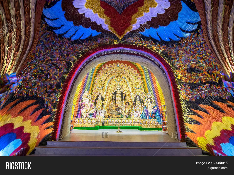 Kolkata india image photo free trial bigstock kolkata india october 18 2015 night image of decorated durga puja pandal shot at thecheapjerseys Gallery
