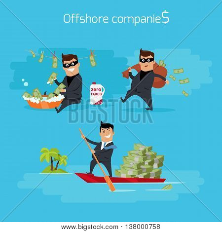 Offshore companies concept vector. Flat design. Financial crime, tax evasion, money laundering, political corruption illustration. Man in a business suit, in mask launderers, hides and takes money.