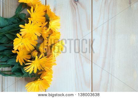 Calendula Flowers On A Old Wooden Background