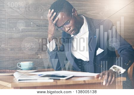 Double Exposure Of Black Corporate Worker In Glasses, Looking Worried And Concerned About Making A M