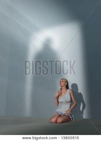 praying woman in dark room