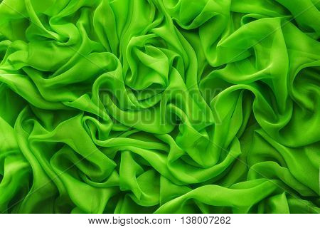 Fabric Waves Background Cloth Wave Green Satin Clothes Texture
