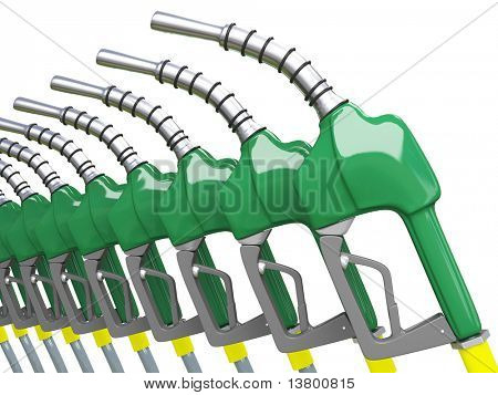 Isolated Green Gas Pump Nozzles