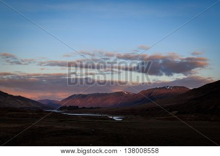 A view of the Scottish highlands sunset in winter