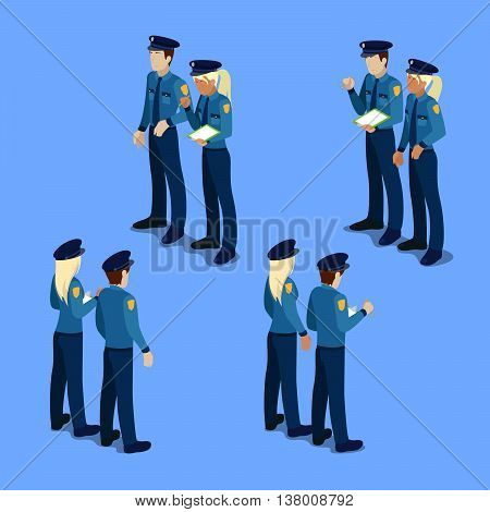 Isometric People. Policeman and Policewoman at Work. Vector illustration