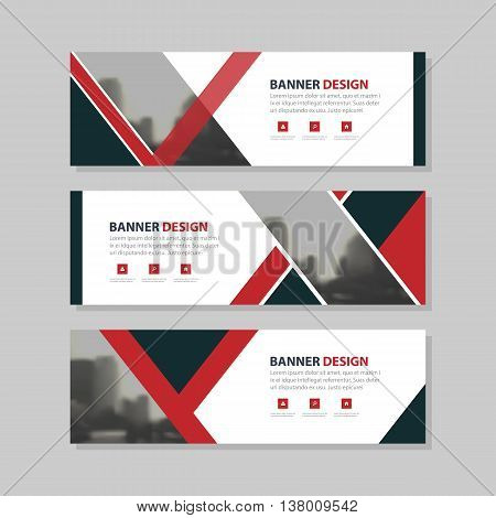 Red black triangle abstract circle corporate business banner template horizontal advertising business banner layout template flat design set clean abstract cover header background for website design