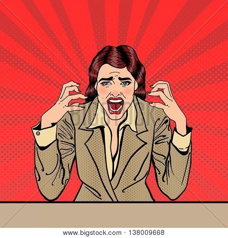 Screaming Frustrated Business Woman with Help Sticker on her Head. Pop Art. Vector illustration
