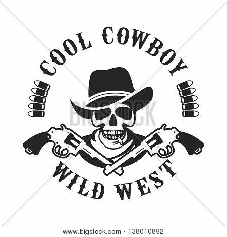 vector illustration of a skull wearing a hat in a retro style with the Colts mascot weapons black and white