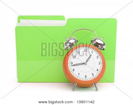 Clock and Folder Concept isolated on white background