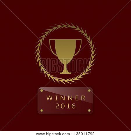 Golden cup. Winner. Champion. Number one. Trophy. Golden award Glass nameplate for simple text