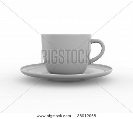 Mockup of coffee or tea cup on plate. 3D illustration -- Realistic three dimensional render of coffee and tea glass mugshot. Mock up can be used for placing signs and symbols or any corporate identity on a blank area.
