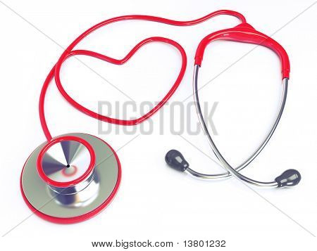 3d Heart-Shaped red stethoscope Isolated