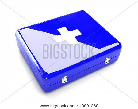 3d Blue first aid kit isolated on the white background