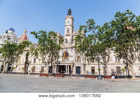 Valencia -june 26: Valenciacity Hall On June 24 2016 In Valencia, Spain. This Neoclassical And Baroq