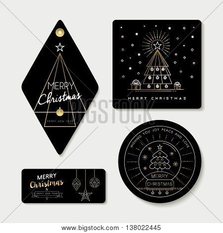 Gold Line Art And Tag Template Set For Christmas