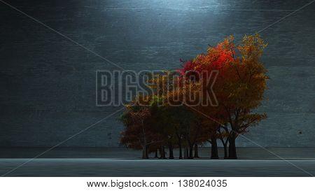 Autumnal Trees 3D Render