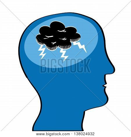 Human head in profile with a black storm cloud and lightening in the brain area as a metaphor for mental health issues