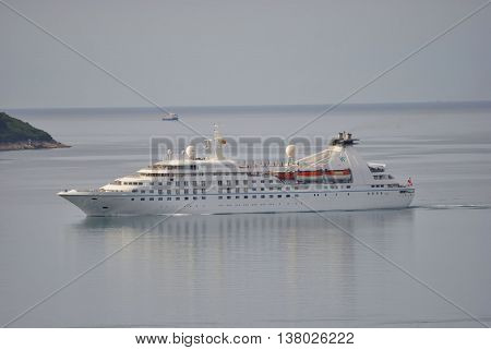 Herceg Novi, Montenegro - June 21, 2016: Star Pride cruise ship in Boka Bay, Montenegro. Star Pride is one of three German built cruise ships, was built as Seabourn Pride in 1988 year.
