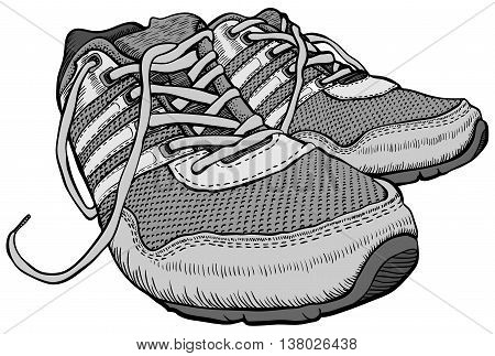 a pair of sport shoes with laces, freehand drawing