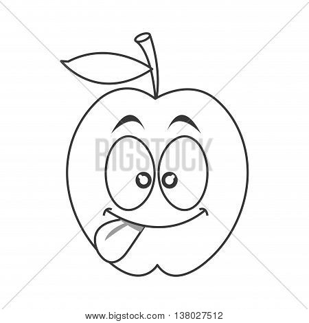 flat design silly tongue out apple cartoon icon vector illustration