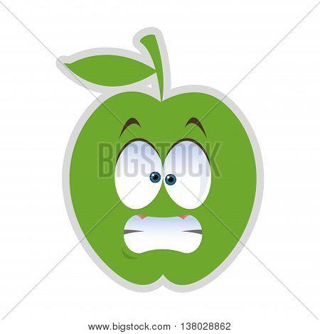 flat design stressed apple cartoon icon vector illustration