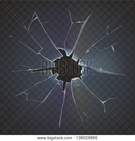 Realistic broken glass broken frosted window pane on black background destruction vector illustration