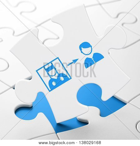 Law concept: Criminal Freed on White puzzle pieces background, 3D rendering