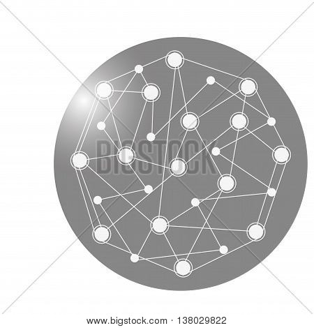 flat design earth globe connection lines icon vector illustration
