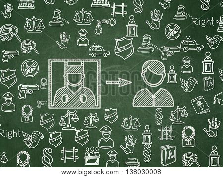 Law concept: Chalk White Criminal Freed icon on School board background with  Hand Drawn Law Icons, School Board