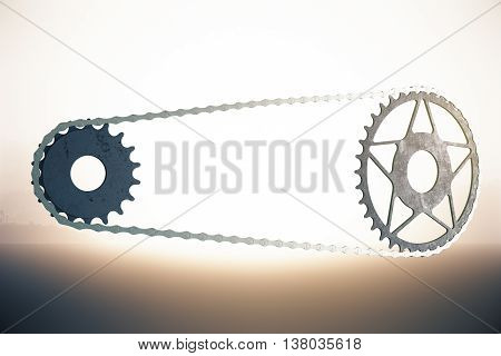 Bicycle gearing on abstract bright background. 3D Rendering