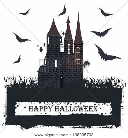 Halloween card with Stylish Witch Castle for your designs. Vector image.