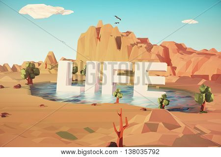 Colored Desert landscape with lake. Life concept. 3D Rendering