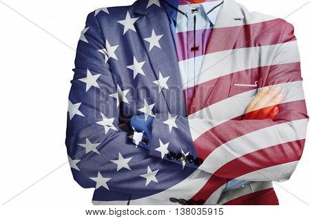 Double Exposure Of Businessman With America Flag As American Business Hero